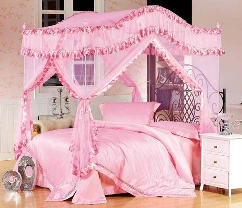 pink-twin-canopy-beds-for-girls